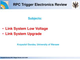 RPC Trigger Electronics Review