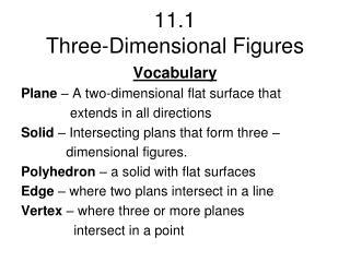 11.1  Three-Dimensional Figures