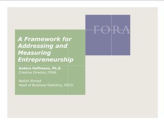 A Framework for Addressing and Measuring Entrepreneurship