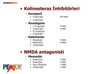 Kolinesteraz İnhibitörleri Donepezil 5 mgx 1 /gün     4/6 hafta 5 mgx2/gün Rivastigmin