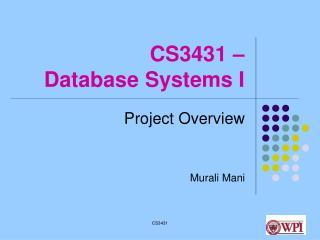 CS3431 – Database Systems I