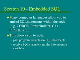 Section 10 - Embedded SQL