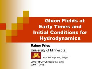 Gluon Fields at Early Times and Initial Conditions for Hydrodynamics