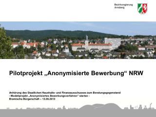 """Pilotprojekt """"Anonymisierte Bewerbung"""" NRW"""