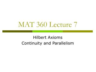 MAT 360 Lecture 7