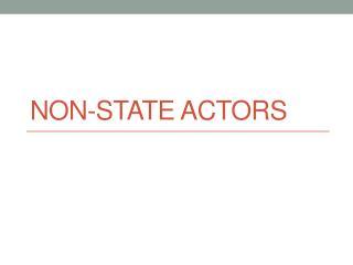 Non-State Actors