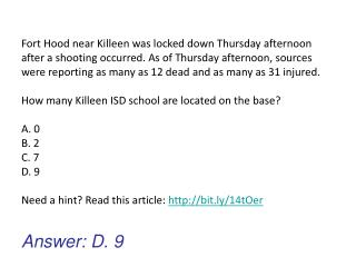 Answer: D. 9