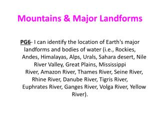 Mountains & Major Landforms