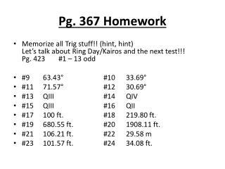 Pg. 367 Homework