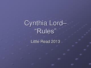 """Cynthia Lord–  """"Rules"""""""