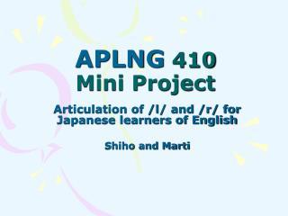APLNG  410 Mini Project