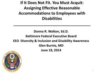 Donna R. Walton,  Ed.D . Baltimore Federal Executive Board