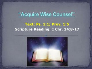 """Acquire Wise Counsel"""