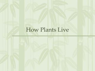 How Plants Live