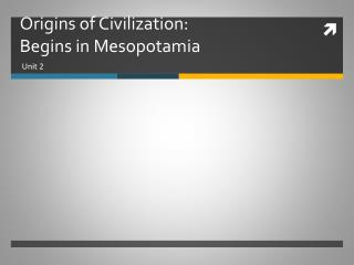 Origins of Civilization: Begins in Mesopotamia
