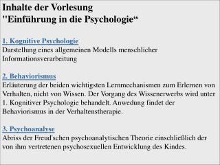 """Inhalte der Vorlesung  """"Einführung in die Psychologie"""""""