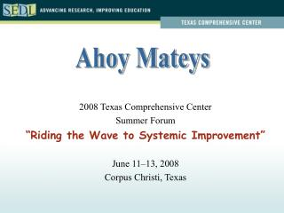 """2008 Texas Comprehensive Center Summer Forum """"Riding the Wave to Systemic Improvement"""""""