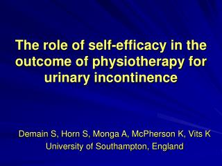 The role of self-efficacy in the outcome of physiotherapy for urinary incontinence