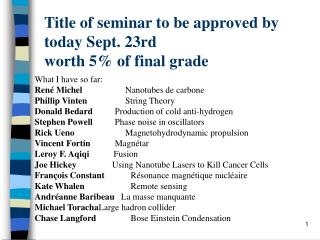 Title of seminar to be approved by today Sept. 23rd worth 5% of final grade