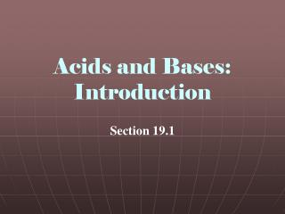 Acids and Bases: Introduction