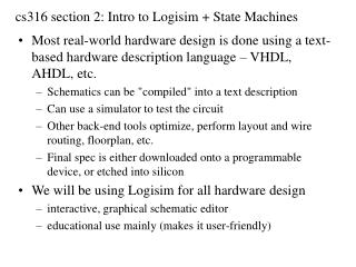 cs316 section 2: Intro to Logisim + State Machines