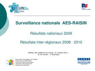 Surveillance nationale  AES-RAISIN Résultats nationaux 2009 Résultats inter-régionaux 2008 - 2010