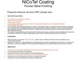 NiCoTef Coating Pioneer Metal Finishing