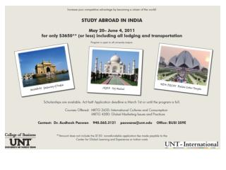 Study Abroad � India:  MKTG 2650 (Int. Cultures & Cons.) or