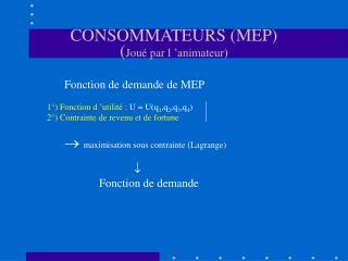 CONSOMMATEURS (MEP) ( Joué par l'animateur)
