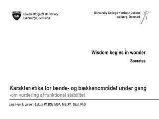 Lars Henrik Larsen, Lektor PT.BSc.MSA. MScPT. Stud. PhD