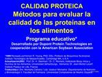 CALIDAD PROTEICA M todos para evaluar la calidad de las prote nas en los alimentos