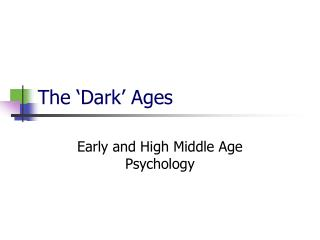 The �Dark� Ages