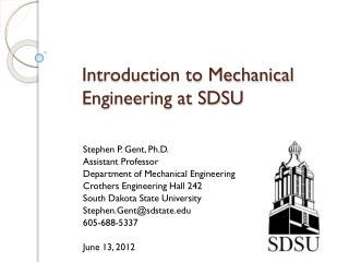 Introduction to Mechanical Engineering at SDSU