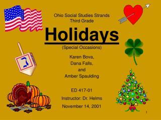 Ohio Social Studies Strands Third Grade Holidays Special Occasions