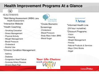 Health Improvement Programs At a Glance
