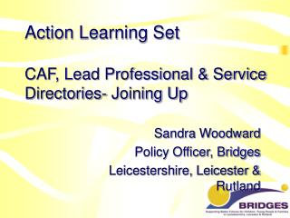 Action Learning Set   CAF, Lead Professional  Service Directories- Joining Up