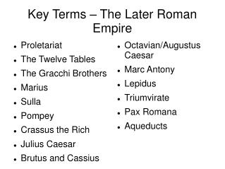 Key Terms – The Later Roman Empire