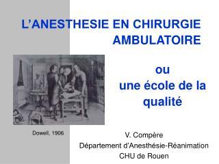 L ANESTHESIE EN CHIRURGIE AMBULATOIRE