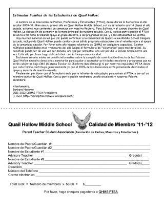 Parent Teacher Student Association ( Asociación de Padres, Maestros y Estudiantes )