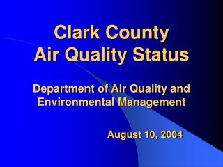 Clark County's Current  CO SIP Status