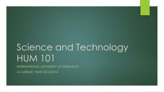Science and Technology HUM 101