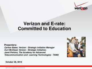 Verizon and E-rate:   Committed to Education