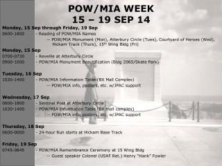 POW/MIA WEEK 15 – 19 SEP 14