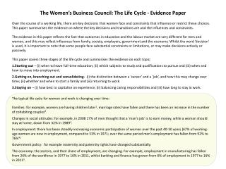 The Women's Business Council:  The Life Cycle - Evidence Paper
