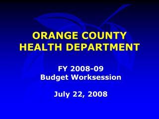 ORANGE COUNTY HEALTH DEPARTMENT
