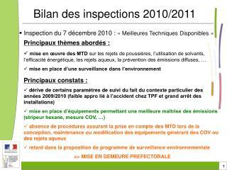 Inspection du 7 décembre 2010 :  «Meilleures Techniques Disponibles»
