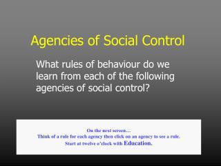 Agencies of Social Control