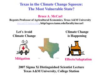 Texas in the Climate Change Squeeze: The Most Vulnerable State