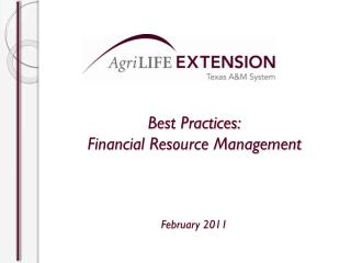 Best Practices: Financial Resource Management February 2011