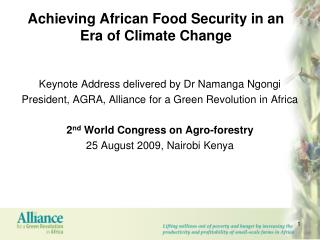 Achieving African Food Security in an Era of Climate Change